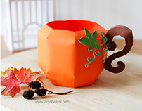 3D Paper Pumpkin Mug
