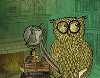 Owl with books