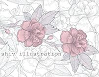 Shiv Illustration / Floral Pattern Print & Web Banner
