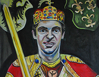 Collin as Charlemagne, oil painting