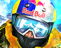 Redbull Skiing Icon Illustration