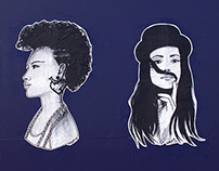 Black & White Fashion Illustration Street Art