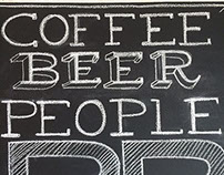 Chalkboard menu for BREW, a coffee and beer bar