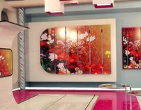 Interior design of a studio for a broadcast show