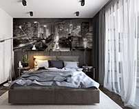Big City lights. Modern Bedroom Visualisation.