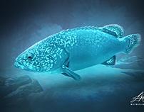 Blue Fish Digital Oil Painting by Wayne Flint