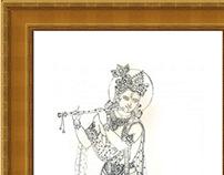 Pencil Drawing - Lord Krishna