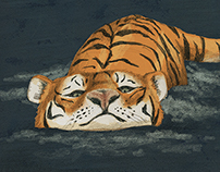 Swimming Tiger Print