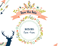 Woodland / Tribal Baby Shower Invitation and Map
