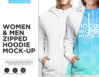 Women and Men Zipped Hoodie Mock-up