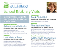 Flyer for Author Julie Berry