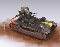 Military tank with machine gun turret