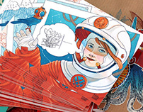 Illustrated cards: steampunk astronaut