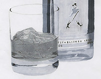 drawing of a bottle of Johnnie Walker whiskey