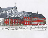 drawing of the same building on two different views
