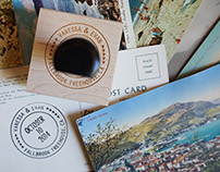 Save-the-date Collaboration on Vintage Postcards