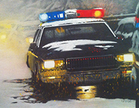 POLICE CAR AT WINTER ACCIDENT SCENE NEAR MINNEAPOLIS