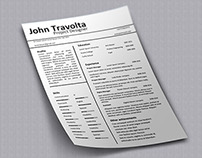Resume / CV template John Travolta, Word format