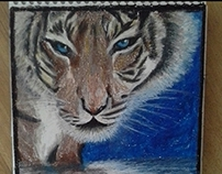 Tiger with pastel painting