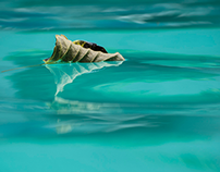 Hojas sobre Aqua