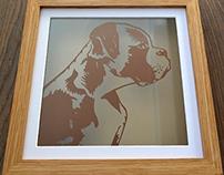 Boxer pet dog papercut