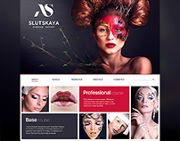 Landing page concept.The school of makeup.