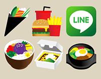 Line APP — 250 food sticons