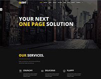 One page website design for a template in dark style