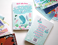 Girls Who Draw Postcard book