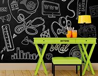 Chalkboard mindmap of an advertising agency