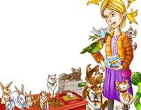 Menina e seus animais