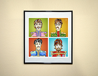 The Beatles. Illustration on canvas