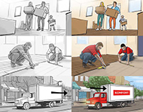 Storyboards for Komfort flooring store