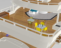 Interior design of a yacht