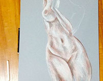 Life drawing - female nude.
