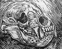 Predator Skulls Linocuts