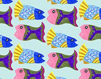 Peruvian Fish Textile Pattern