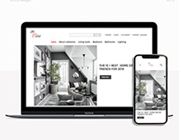 landing page for interior objects store