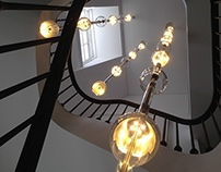 Oil droplets stair chandelier