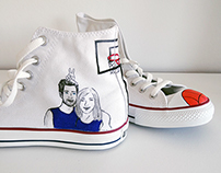 Hand illustrated Converse