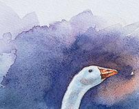 Jeu de l'oie - watercolour by Stéphan Swolfs