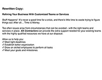 Construction Contractor - Promotional Pamphlet Excerpt