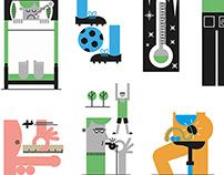 GQ magazine: various spot illustrations