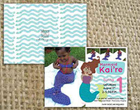 Mermaid illustration and invite design