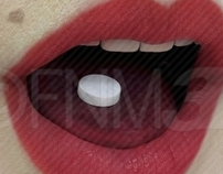Royalty Free 3D Mouth with Pill
