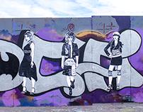 Fashion Illustration On Graffiti Wall
