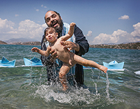 A christening in the sea at Salamina island