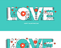 Flat line design Valentine's day greeting card