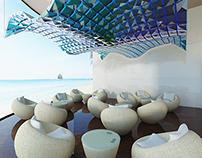 Interior design in the hotel cafe