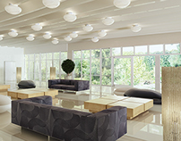Interior design in the hotel complex reception